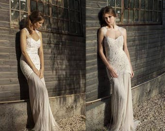 Elegant French Lace Wedding Dress, Bridal Dress, Wedding Dress, Boho Wedding Dress, handmade wedding dress, bridal gown, wedding dress lace