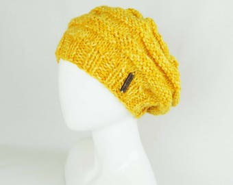 Yellow Slouchy Beanie - Hand Knit Beehive Hat, Knitted Hat, Handknit Teen Beanie, Handmade Hat, Christmas Gift