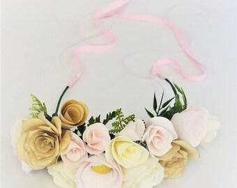 Paper flower crown, Blush wedding floral crown, Flower girl crown, Bridesmaid crown, Floral head wreath, Floral crown, Paper flower headband