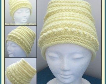 Download Now - Knitting Pattern, PDF DOWNLOAD ONLY, Slouch Hat Pattern, 2 Adult sizes - In the Round - Written Instructions