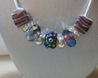 Purple European beaded necklace