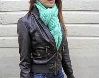 Mint Hand Knit Acrylic Scarf - Women's Scarf - Teen Scarf - Vegan Scarf - Light Green Scarf - Green Scarf - Green Acrylic Scarf - Mint Scarf