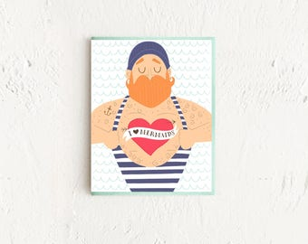 I Heart Mermaids, Sailor Card, Funny Thank You Card, Masculine Thank You Card, Nautical Card, Hipster Card,