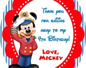 Personalized  Sailor Mickey Mouse Party Favor Tags DIY, UPrint, Printable