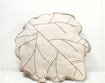 Leaf shaped pillow, woodland home or nursery decor - Silver Poplar leaf cushion