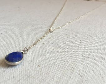 Lapis gemstone silver lariat necklace