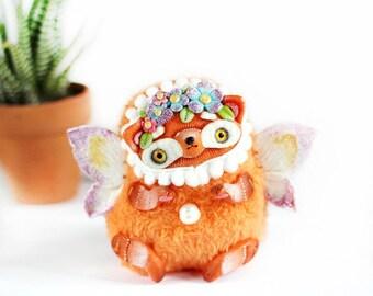 miniature toy animal Miniature fox toy plush red fox polymer clay fantasy art winged Fox kawaii cute miniature toy