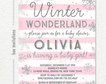 winter wonderland baby shower invitation girl, blush pink silver snowflake baby shower invitation, winter baby shower invitation, printable