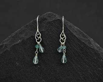 Dainty earrings Scottish Weather, faceted blue topaz, apatite gemstone, sterling silver cloud. Gift for girlfriend flower girl.