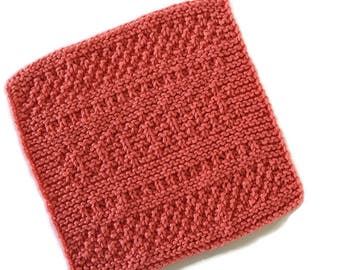 Dish Cloth, Coral Wash Cloth,Gift,Eco Friendly,Hostess Gift,Cotton Cloth,Hand Knit Dish Cloth,AllSylviasCreations Original,Gift for Her