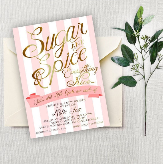 Sugar And Spice Baby Shower: Sugar And Spice Baby Shower Invitation Baby Girl Baby Shower