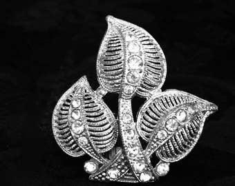 Crystal's vintage dress clip  1930s's brushed silver