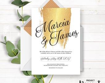 Gold Wedding Suite - Wedding Invitation - Printable Wedding - Grand Wedding Set - Wedding Welcome Sign - Wedding Thank You - Rustic Wedding