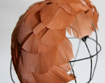 Rose Gold Feather Hat by Saks Fifth Avenue