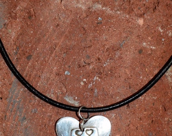 Fine Silver Heart with a Rectangular Silver Insert Featuring 6 Smaller Hearts | Precious Metal Clay