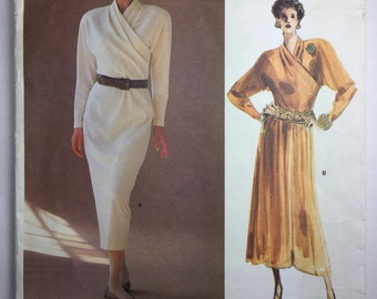 1980's Vintage Vogue 1793 Calvin Klein Straight or Flared Skirt Dress Pattern in size 12 uncut
