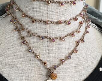 Gold Crochet Wrap Bracelet necklace thick choker Ohm charm Yoga beaded long necklace Beach Jewelry Boho Bracelet Bohemian Hill Tribe Silver