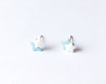 Two Little Stars Earrings - Ceramic earrings - Post earrings - Stud earrings - Light blue earrings - Star earrings - Clay earrings