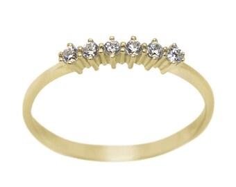 Diamonds Gold Ring, 6 Stone Diamond Ring, White diamonds Ring, Black Diamonds Ring, Diamonds ring, Gold Stacking Ring, Thin gold ring