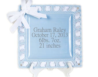 Personalized Birth Announcement - Baby Stats - Ribbon Plate - Personalized Baby Gift - Newborn Gift - Baby Shower Gift - Create your own