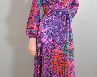70s Maxi Dress// Long Disco Dress// Psychedelic Disco Dress