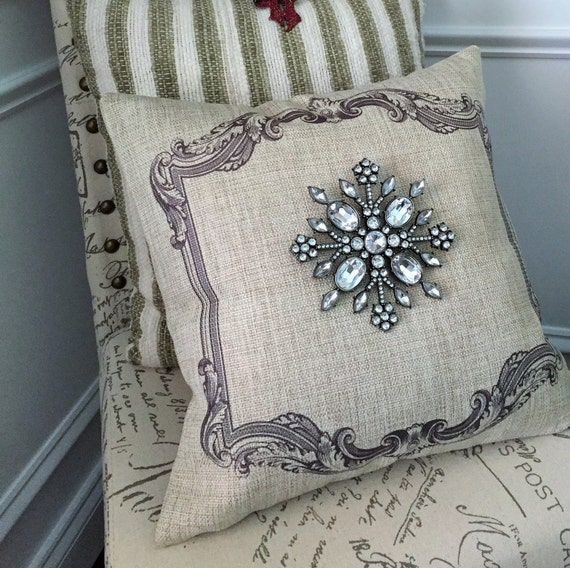 Decorative Jeweled Pillows : Items similar to beaded pillow,tan pillow,jeweled pillow,linen pillow,fancy throw pillows,silver ...