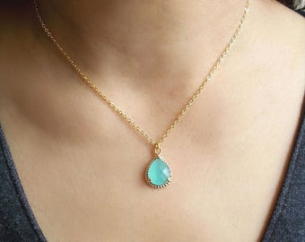 Mint Crystal Necklace - Gold Dainty Minimal Necklace - Mint Green Bridesmaids Jewelry - Bride Maid of Honor Gift - Wedding Crystal Jewelry