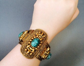 RARE Art Deco bangle bracelet, Egyptian scarab beetle amulet statement bracelet, turquoise bead and gold ropework filigree vintage bracelet
