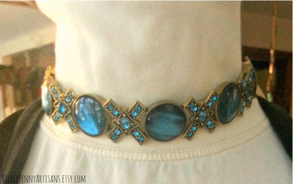 Women's Jewelry, Choker. Statement Necklace, Hugs and Kisses, Adjustable Gold and Teal Rhinestone Collar