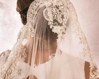 Cup Veil, Cathedral Length Wedding Veils, Mantilla Wedding Veil, Lace Wedding Veil, Wedding Accessories, Custom Bridal Veils, READY TO SHIP