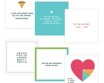 Set of Six. Love Notes. Date Night Cards. Love Cards.
