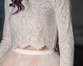 Magnolia - bridal crop top / long sleeve crop top / lined bridal top / royal pattern lace top / lace crop top / bridal lace crop top