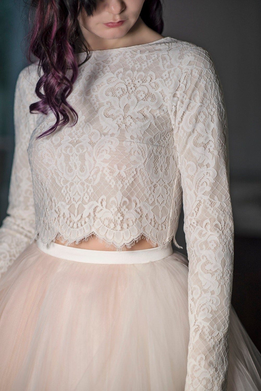 crop top wedding crop top wedding dress Magnolia bridal crop top long sleeve crop top lined bridal top royal pattern lace top lace crop top bridal lace crop top