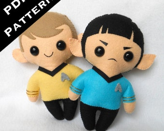PDF PATTERN - Spock & Kirk Chibi Plush (Digital Download) by Michelle Coffee