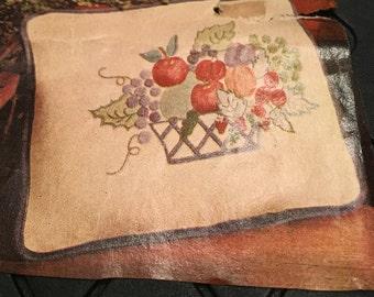 Fruit Basket Throw PIllow Crewel Embroidery Kit - New Old Stock