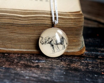 Elephant necklace , silver elephant , elephant jewelry , wooden pendant