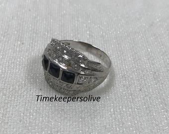 Elegant Vintage Square Black Onyx Ring with 24 Diamonds in 10k White Gold + Gift