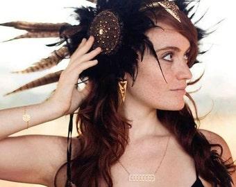 Tribal Fusion Headdress, belly dance headpiece, Gypsy Headband Tribal Dance, Woodland Circlet, Metallic Crown feathered tiara headpiece