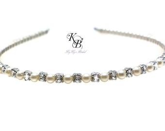 Bridal Tiara Bride Hair Accessories Pearl Headband Bridal Headband Crystal Headband Wedding Hair Accessories Hair Jewelry