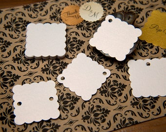"50 White shiny Pearlised 1.5"" Square Luxury Gift Tags, Blank Tags, Wishing Tree Tags, Wedding favour, Jewellery Tags, wedding favor 1.5 inch"