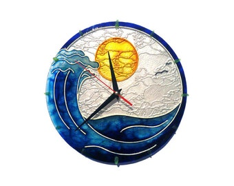 Stained Glass Clock, Beach Wall Clock, Nautical Wall Clock, Large Wall Clock, Painted Glass Artwork, Wave clock, Surf Wall Clock, Unique Art