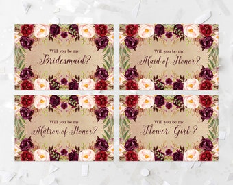 Burgundy Floral Will You Be My Bridesmaid Invitation Printable Will You Be My Maid of Honor Flower Girl Matron of Honor Burgundy Flowers 243