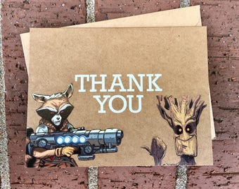 Marvel Rocket Raccoon and Groot (Guardians of the Galaxy) Thank You Card Comic Book Greeting Card (Blank)