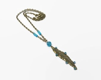 Turquoise Leaf Necklace, Aqua Leaf Necklace, Boho Leaf Necklace, Leaf Pendant Necklace, Nature Lover