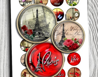 Paris Digital Collage Sheet 20mm 25mm 1 inch 30mm 1.5 inch Printable inchies for Pendants Bottlecaps Cabochons