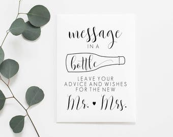 Wine Bottle Guestbook Sign. Message In A Bottle Printable. Message In A Bottle Sign. Wedding Printable Signs. Wedding Signs. Wedding Signage