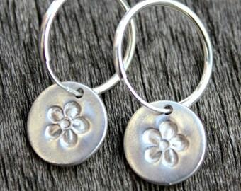 Silver hoop flower earrings, silver hoop earrings, flower hoop earrings, sterling hoop earrings, small silver hoops, silver hoop earings