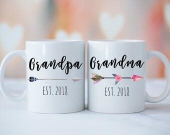 Grandparents Mug Set, Grandma Grandpa Mugs, Baby Announcement, New Grandparents, Grandparents Gift, Tribal Grandma Grandpa Mug Set
