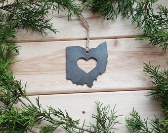 Ohio State Christmas Ornament Rustic Raw Steel Personalize Engrave Love OH Metal Holiday Decoration Stocking Stuffer House Warming Gift