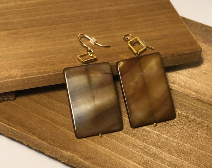 Flat Rectangle Shell Gold Plated Geometric Drop Earrings
